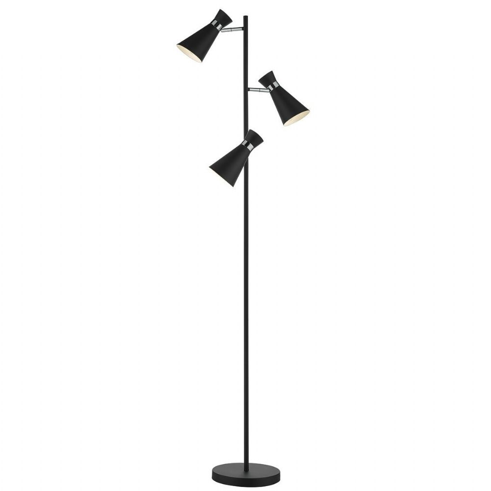 Ashworth 3 Light Floor Lamp Black Polished Chrome (Class 2 Double Insulated)